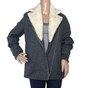 French Connection Wool Blend Sherpa Trim Peacoat S